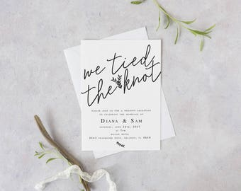 We Tied The Knot Elopement Wedding Reception Template DIY Modern Invitation