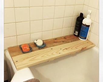 Custom reclaimed bath tub shelf