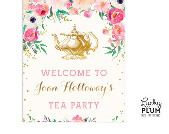 Tea Party Welcome Sign / High Tea Welcome Sign / Kitchen Tea Welcome Sign /  Floral Welcome Sign / Teapot Welcome Sign / DIY Printable