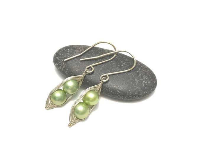 Featured listing image: Pea pod pearl earrings //  Choose your pea count, peas in a pod with green fresh water pearls, pea pod jewelry