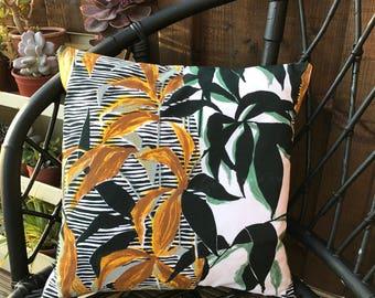 "Vintage fabric botanical cushion pillow Rosebank ""Dubois"""