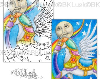 Adult Coloring Page - Journey to the Stars by B. K. Lusk - Digital Download Digistamp - Horse Unicorn - Tattoo Flash Scrapbook Craft