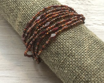 Long seed bead necklace or multi wrap bracelet, garnet beaded bracelet