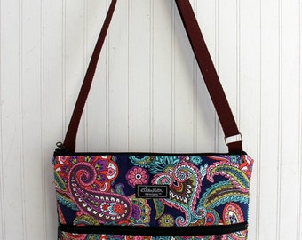 Larger Jordyn Sling Hip Bag in Paisley Multi with Front Zipper Pocket