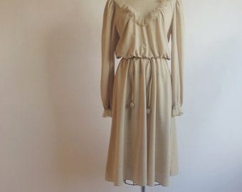 1970s Sand Beige Lacy Secretary Dress by Darcy Dress Inc