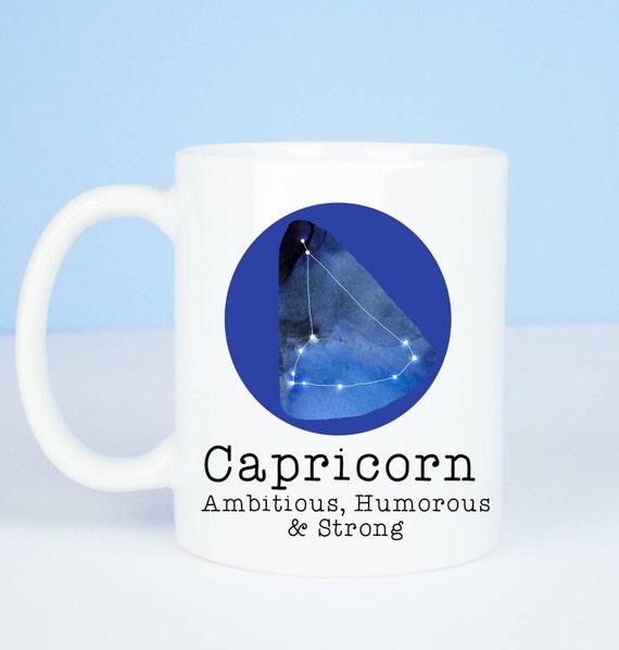 Capricorn mug, Personalised back, lovely star sign Capricorn mug, December 22 to January 19