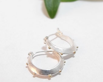 Sterling Silver Hoop Earrings Small Silver Hoops Sterling Earrings Silver Earrings with 14k Gold Granules