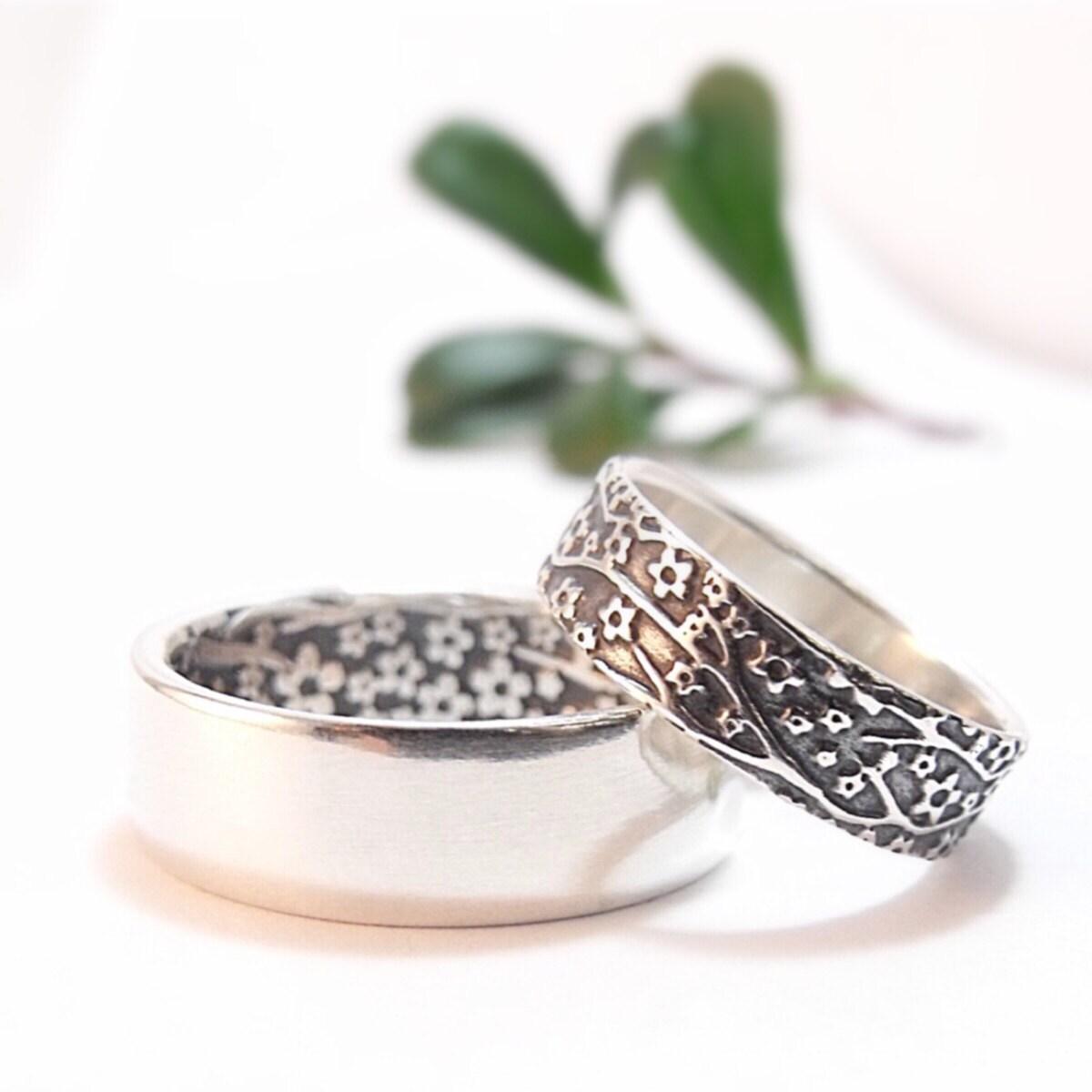 womens wedding ring set womens wedding band set cherry blossom