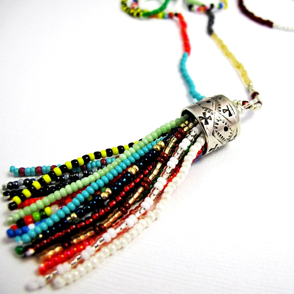 beaded tassel necklace colorful glass seed