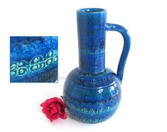 """Large Rimini Blu Vase by Bitossi 11"""" Italian 1960s Art Pottery Ceramics Italy Blue Floor Vase Jug Handle Aldo Londi Turquoise Teal"""