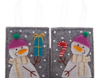 Christmas Ornament Set, 2 Felt Ornaments, Hand Made Snowmen, Felt Candy Cane and Felt Gift, Cute Stocking Stuffers or Advent Calendar Gifts