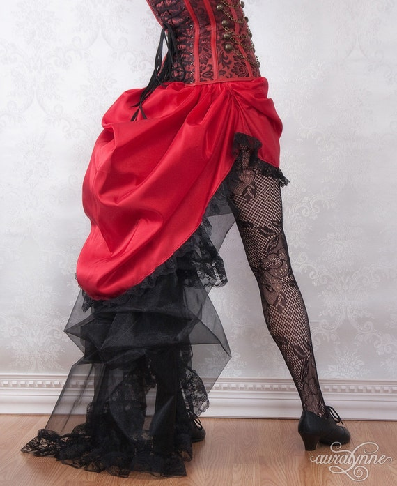 Lady in Red Steampunk Skirt