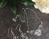 Elven Celtic Victorian Spiral Necklace and Earring Set, Irish Love Knot Bridal Set, Sterling Silver Irish Jewelry Set with 16 inch Box Chain