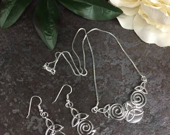 Celtic Victorian Spiral Necklace and Earring Set, Celtic Trinity Knot Wedding Set, Sterling Silver Irish Jewelry Set with 16 inch Box Chain