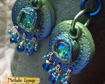 Earrings For Sensitive Ears, Mermaid Jewels, Polymer Clay, Glass Earrings, Blue, Green, Nathalie Lesage, My Garden Of Love