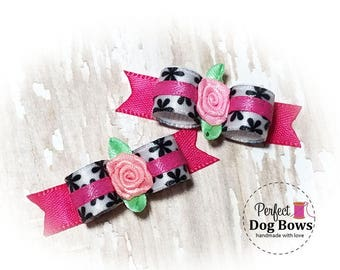 Dog Bows - Spring Flower Dog Bows,  Puppy Bows, Small Dog Bow