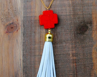 Orange and White Tassel Necklace