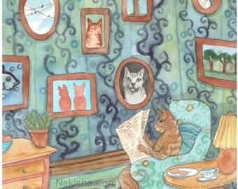 Fine Art Animal Print - Cat Art Collector
