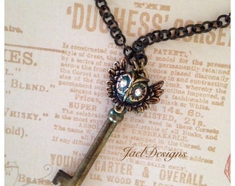 Steampunk OOAK Necklace - Vintage Brass Skeleton Key, Brass Owl, Rhinestone Eyes, Pendant Necklace