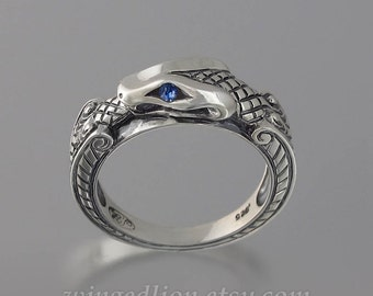 OUROBOROS silver mens unisex Snake ring with Blue Sapphire eyes