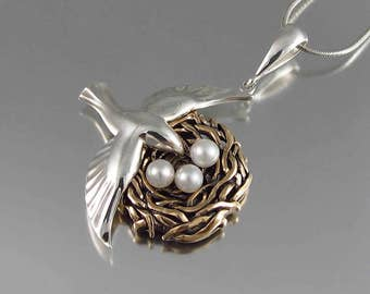 BIRD NEST sterling silver and bronze pendant with pearls - Ready to ship