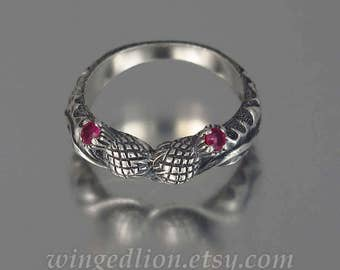 THISTLE BRANCH silver band with Rubies