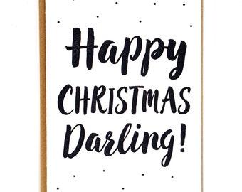 Our First Christmas Card Letterpress Christmas Card Happy Christmas Darling Christmas Card for Husband Boyfriend Girlfriend Wife Married