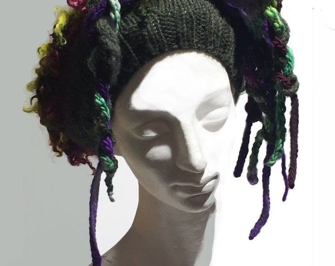 """Featured listing image: Hand knit crochet hat beret w/ dred locks """"Good Hair Day"""" MTO, customized Tam: bad hair day fix, ski hat, hair fall, dred locks, unique hat"""