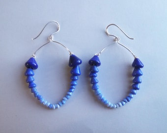 Lampworked glass and sterling silver earrings
