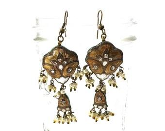 70s Enamel Earrings Vintage 1970s Sterling Silver Indian Cloisonne Guilloche Vermeil Dangle Chandelier Earrings Rhinestones & Faux Pearls