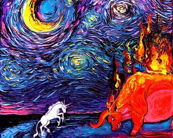 Last Unicorn Art CANVAS print Starry Night van Gogh Never Faced The Red Bull Aja 8x8 10x10 12x12 16x16 20x20 24x24 30x30 Fantasy Art Decor