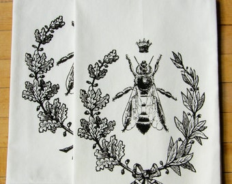 Queen Bee Dish Towel Set/2, Hand Printed Tea Towel,  Hostess Gift, Teachers Gift, Dark Brown/black Ink,  Soft Cotton