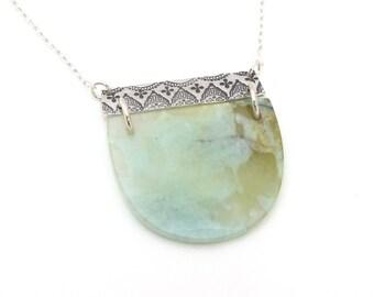 Bar and Half Circle Gemstone Necklace