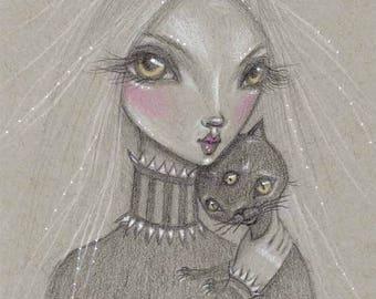 Big Eye Girl with Black Cat Art Print - From Original Drawing by Diane Irvine Armitage - Big Eye Art - Big Eye Sketch - Pop Surrealism