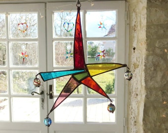 Suncatcher, Stained Glass Star, Abstract Star,  Stained Glass Carnival Star, Star Suncatcher, Coloured Glass