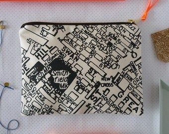 Northern Quarter Manchester Map Screenprint Large Clutch Purse