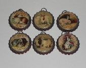 6 Bronze Bottle Caps Vintage Easter Bunny Rabbit Spring Time Charms Mini Ornaments Necklaces Party Favors  Ornies Gift Ties
