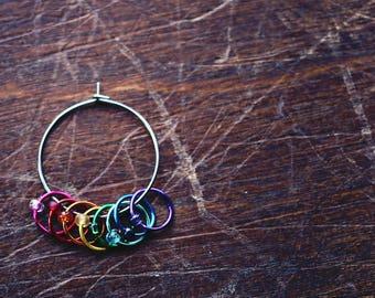 Baby Unicorn Farts - Medium *Snag-Free Simple Set* - Rainbow - Knit/Knitting Stitch Markers - Set of 8
