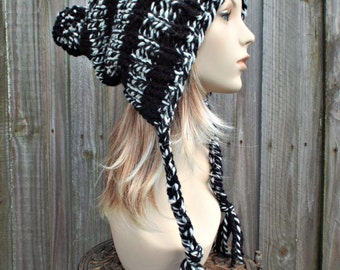 Cream and Black Slouchy Hat Knit Hat Womens Hat Black Hat - Charlotte Slouchy Ear Flap Hat With Pom Poms - Winter Beanie