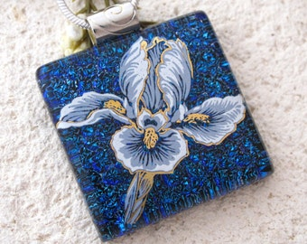 Cobalt Blue Iris Necklace, Fused Glass Jewelry, Dichroic Glass Jewelry, Silver Necklace, Iris Pendant, Blue Dichroic Pendant, 110116p104