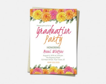 Dahlia Graduation Invitation - High School or College Graduation Invites - Floral Invitations - Printed or Printable | flower pink yellow