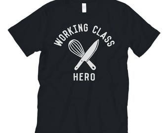 Working Class Hero 'CHEF / BAKER / COOK' Tee. Cotton Unisex Super Soft Black TShirt / Whisk + Chef's Knife / Culinary Arts Tshirt /Gift