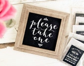 Printable Wedding Favor Sign - Please Take One - Chalk Board Coffee House Sign - Square Sign Download