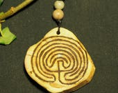 English Ivy Wood Labyrinth Pendant on cord - Pagan, Wiccan, Witchcraft - Tintagel Labyrinth