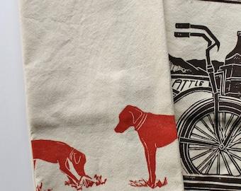 Rhodesian Ridgeback Block Printed 100% cotton Flour Sack Towel- Dog Lover Kitchen Towel