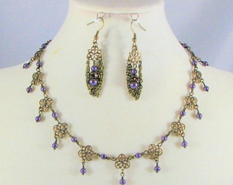 Elfin Necklace of Lavender Pearl on Brass with matching Earrings
