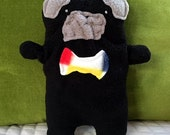Oliver~ The Black Pug Bow Tie Bummlie ~ Stuffing Free Dog Toy ~ Ready To Ship Today - Red, Blue, Yellow Bow Tie