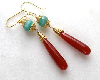 Extra Long Chic Vibrant Carnelian, Amazonite Earrings in 22k Gold Vermeil...