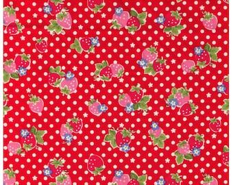 HALF YARD Yuwa - Red and Pink Strawberries on RED and White Polka Dots - Atsuko Matsuyama 30s collection - Daisies  Japanese Import Fabric