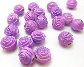 20 Purple Flower Rose Acrylic Beads 12mm (H2284)
